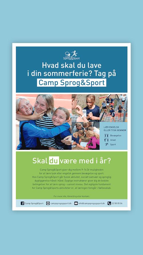Plakat til Camp sprog sport