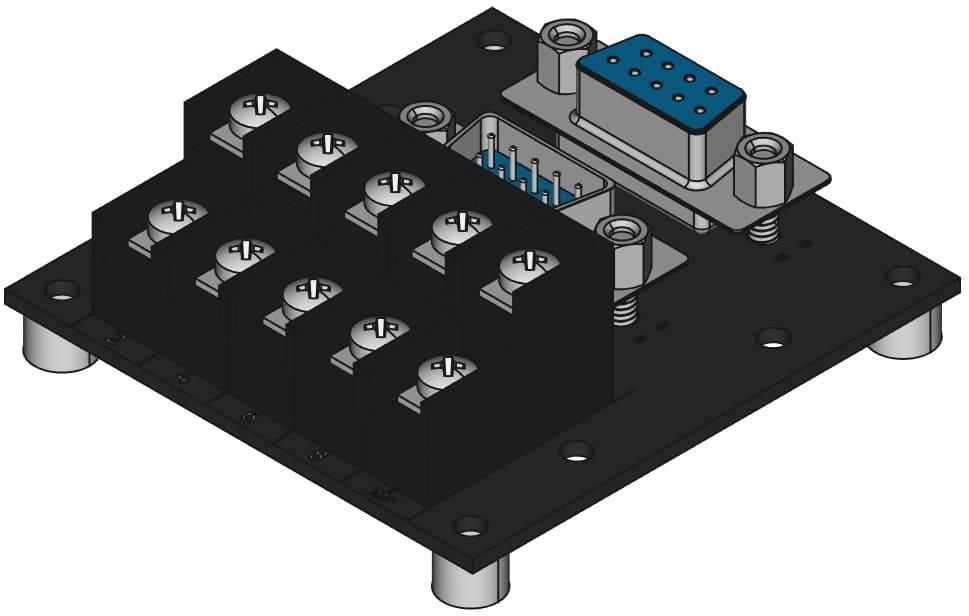 DE9MF-TB2X5をネジ取付けする際の組立完成図