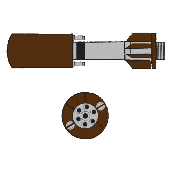 Image shows an illustration of a Golan rocket at the top and a separate zoomed-in depiction of its round circular base below it. The Golan rocket is depicted in grey and brown. The illustration was commissioned by GPPi and created by Judith Carnaby.