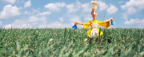 Marionette puppet in grassy field
