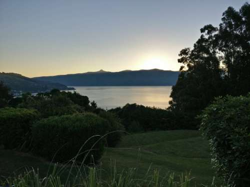 Sunset from Akaroa Top 10 campsite
