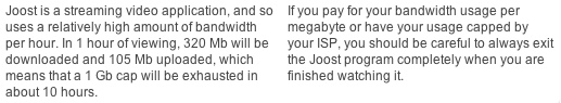 Joost Bandwidth Warning