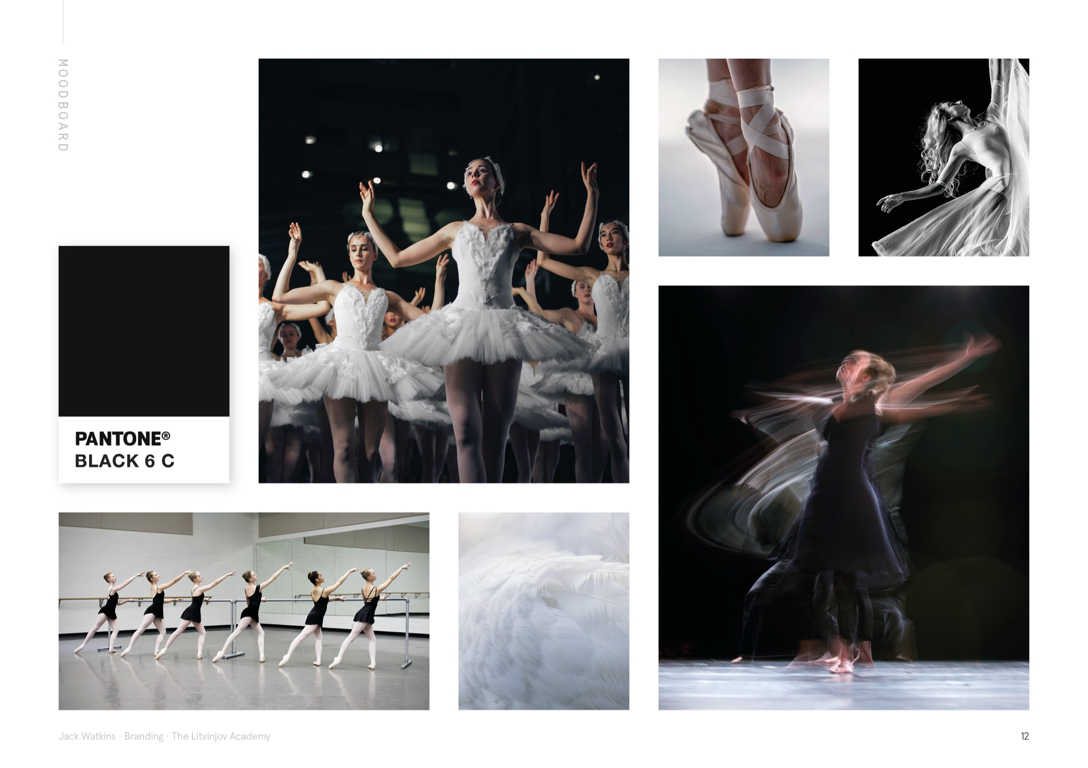 Moodboard for ballet and contemporary dance school, The Litvinjov Academy