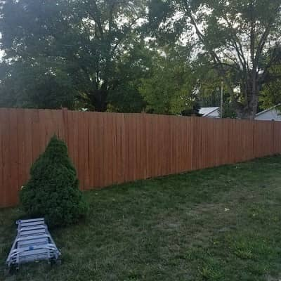 brown stained fence