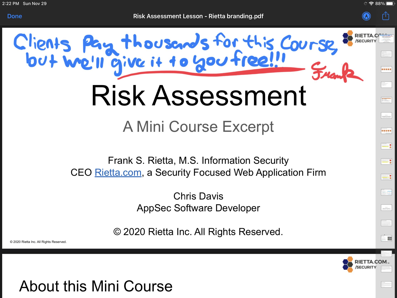 Risk Assessment Mini Course Excerpt