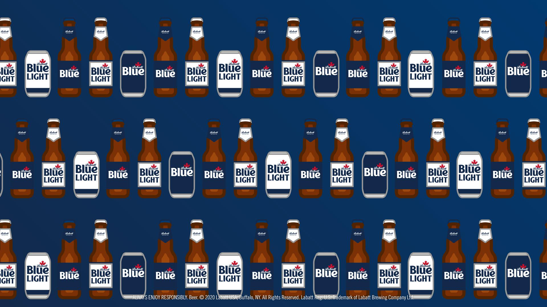 Illustrated Blue and Blue Light Cans and Bottles Background