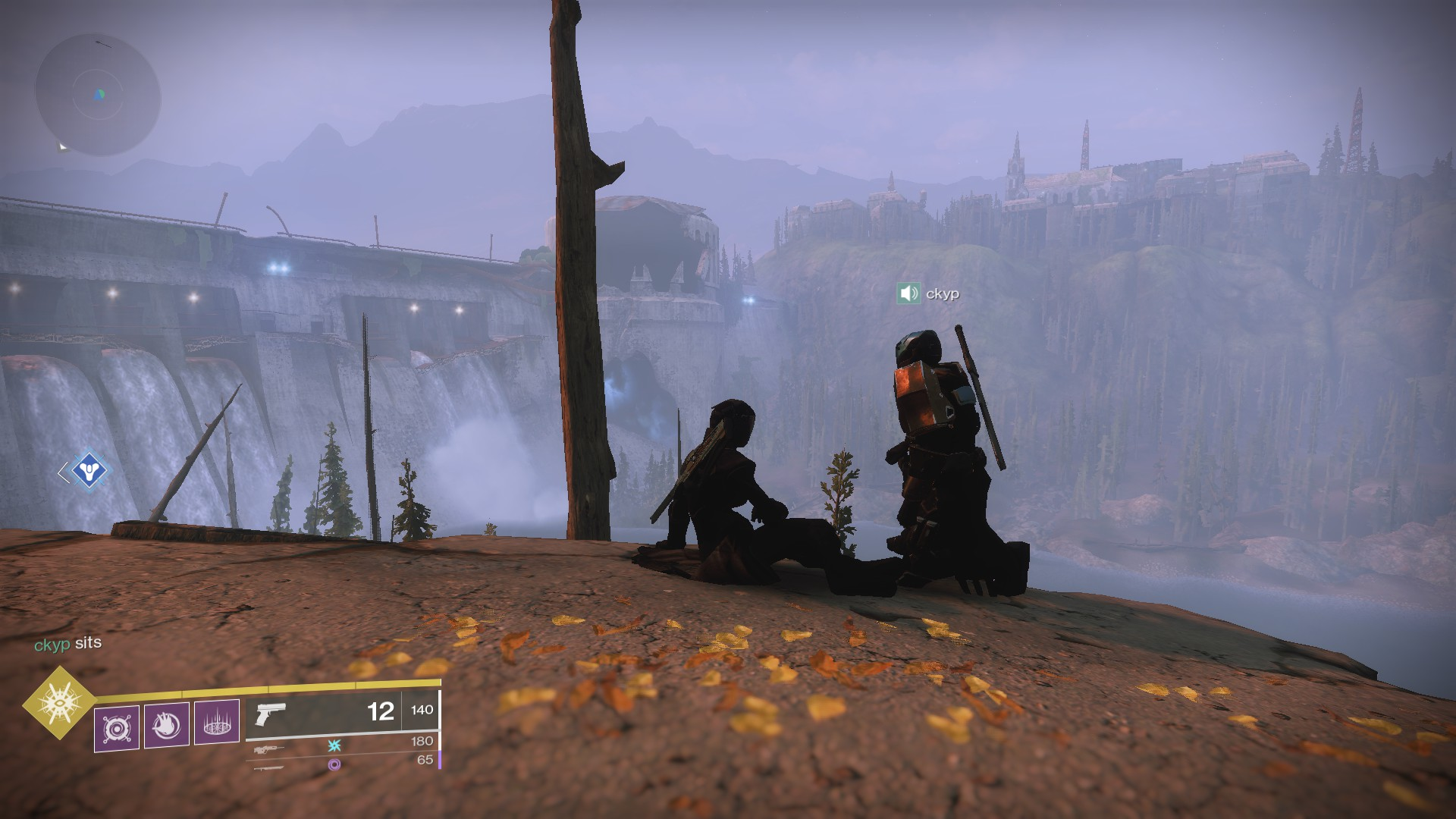 Two characters sitting at a cliff.