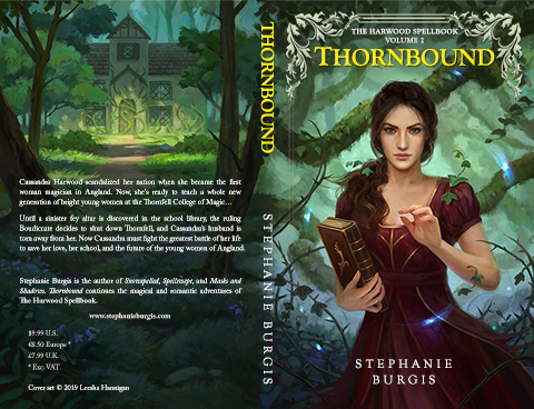 Print cover for Thornbound, by Stephanie Burgis. Original art by Leesha Hannigan.