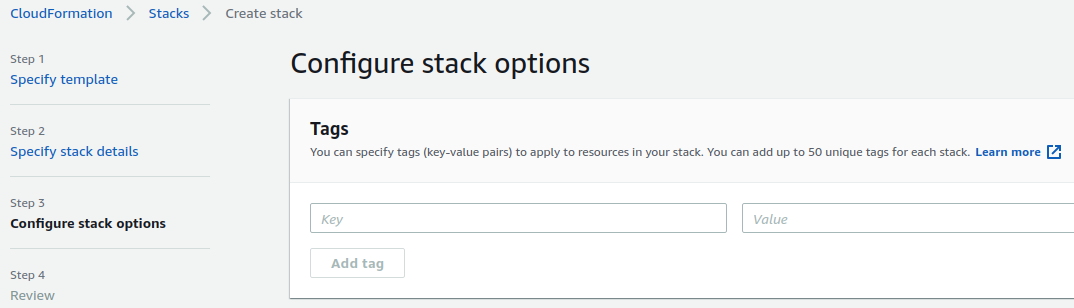 Screenshot of AWS Console showing Configure Stack Options