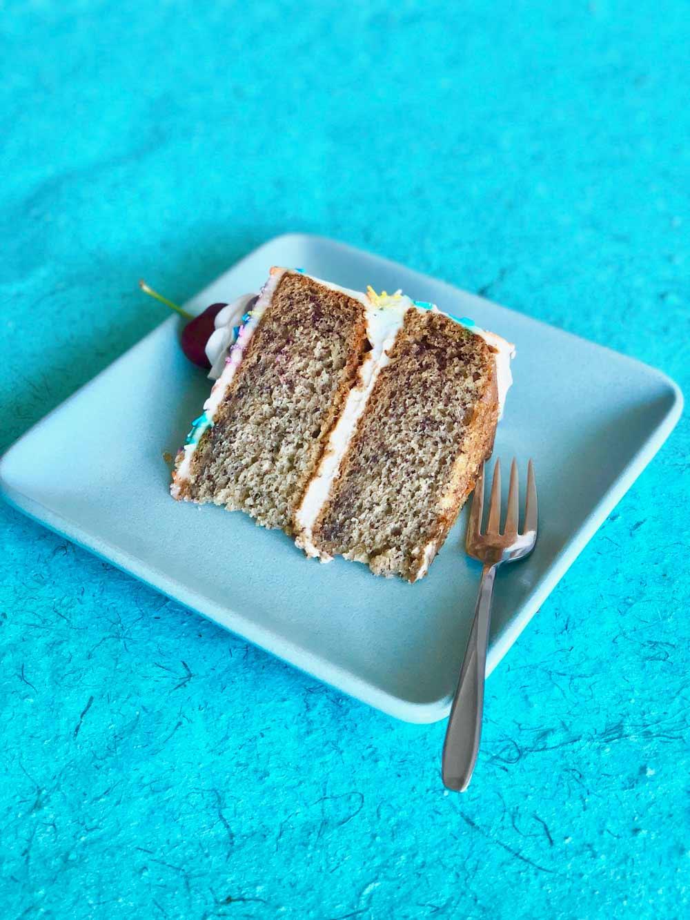 vegan banana split cake slice