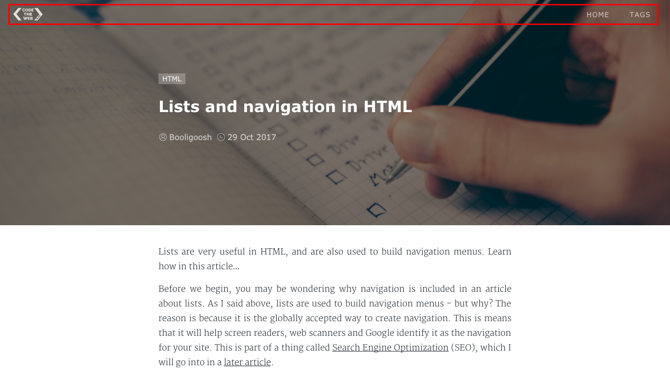 My navigation bar with the Code The Web logo, a Home link and a Tags link