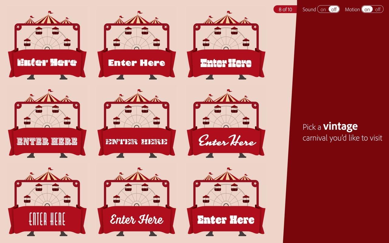 Options for the vintage font tag with Ferris wheel illustrations