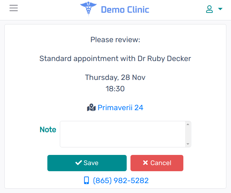 Patient Portal save new appointment
