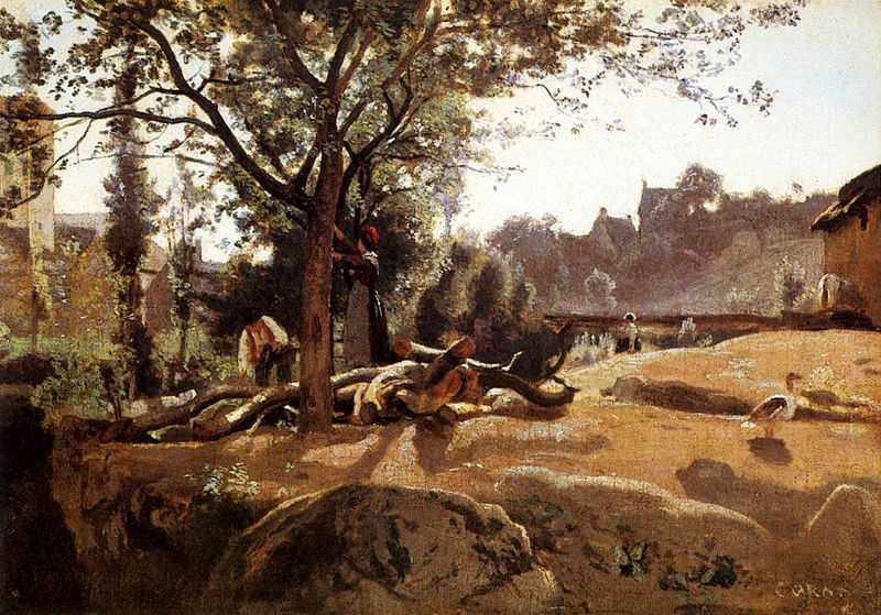 Peasants under the Trees at Dawn, by Camille Corot between 1840 and 1845, National Gallery, London, UK