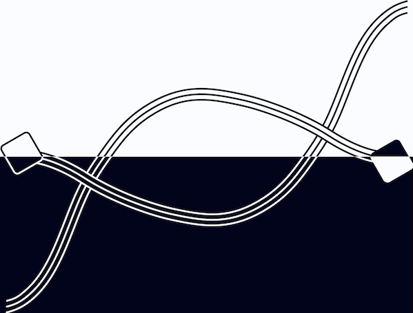 Visual Synapses Logo in black and white, half on black background with white lines.