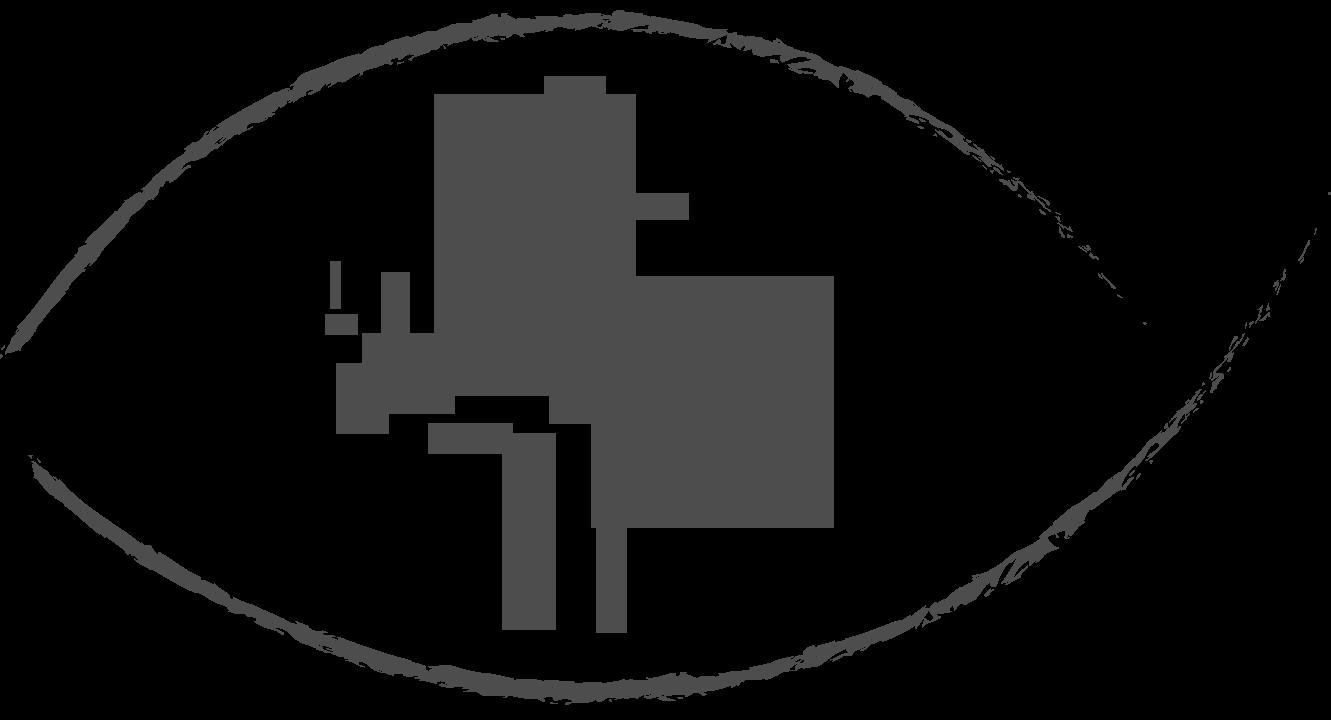 un arbre aux branches nues dans le contour d'un oeil