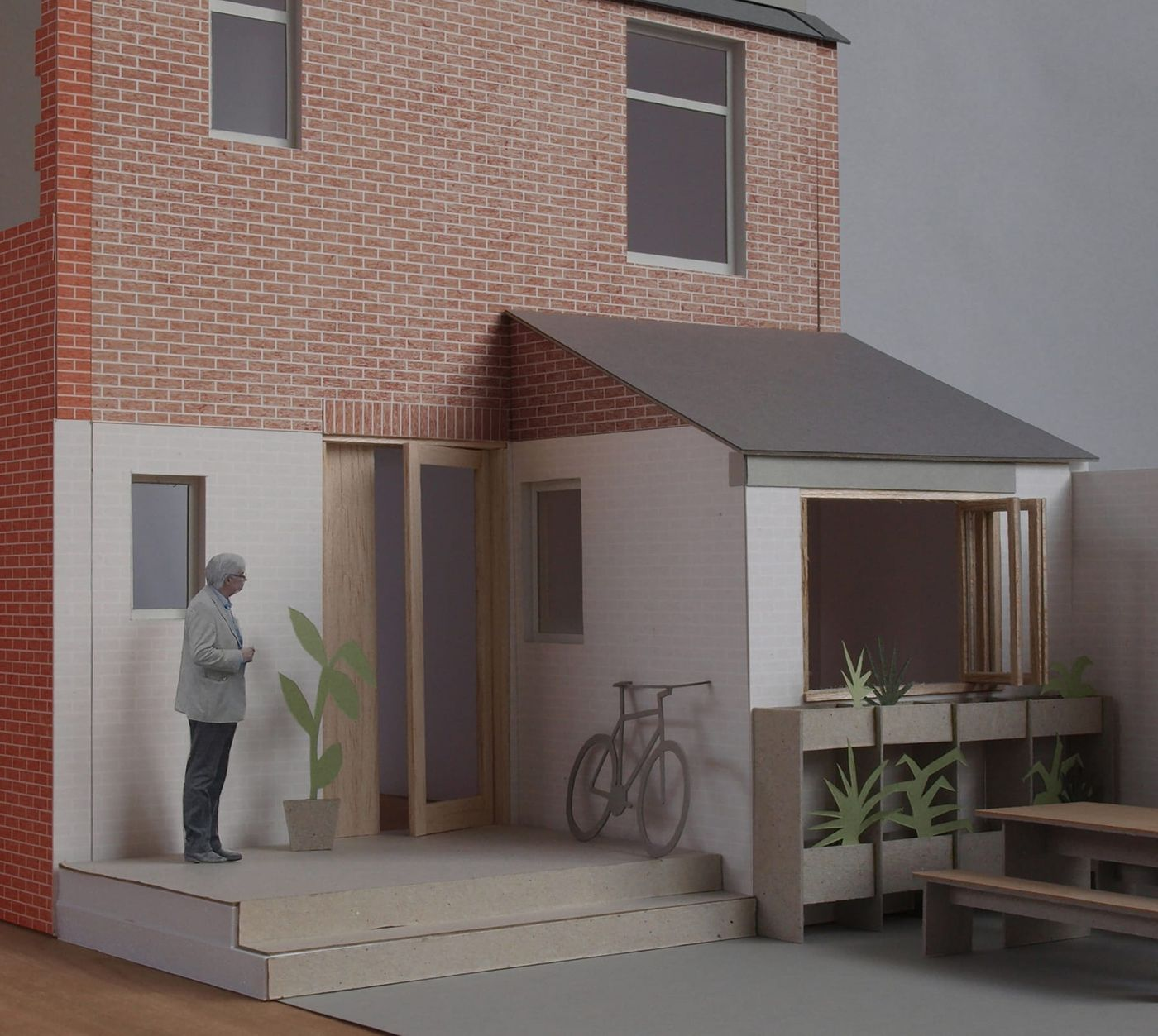 External view of the scale model of the proposed dormer extension and refurbishment for the Whalley Road project designed by From Works.