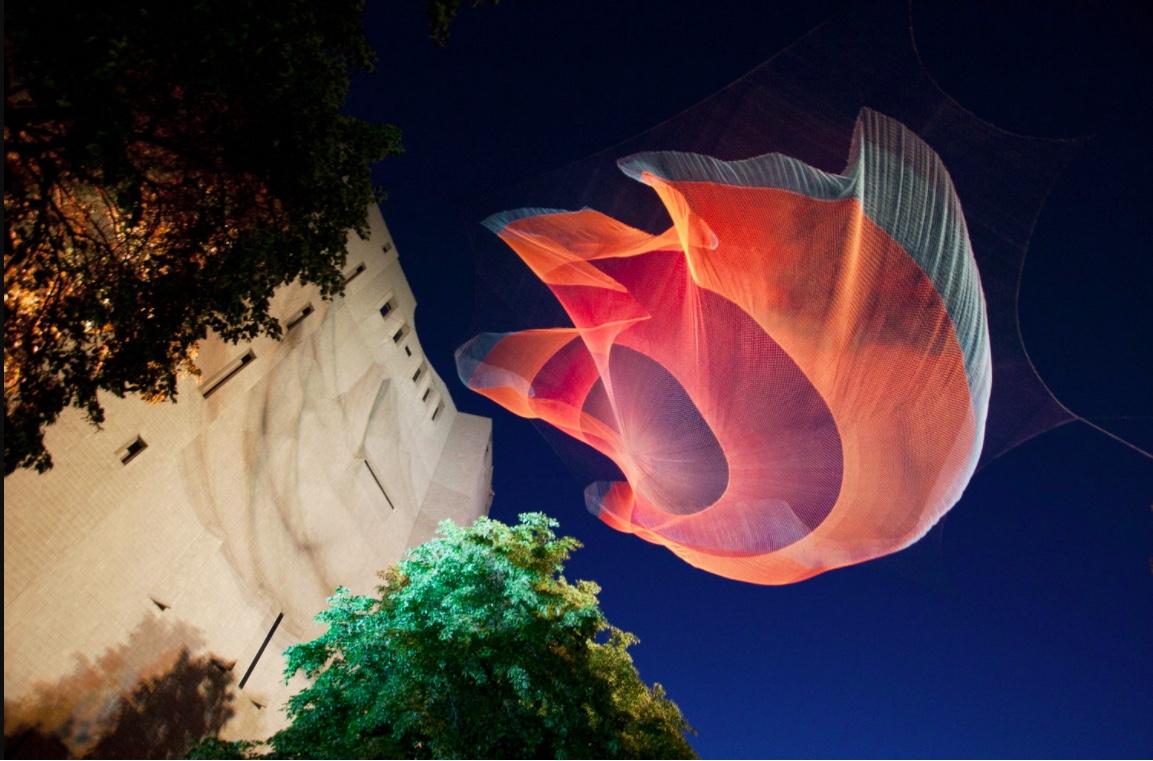 A sculpture created by artist Janet Echelman