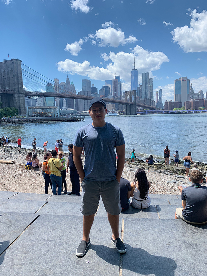 wide shot of nyc with Francisco in the middle