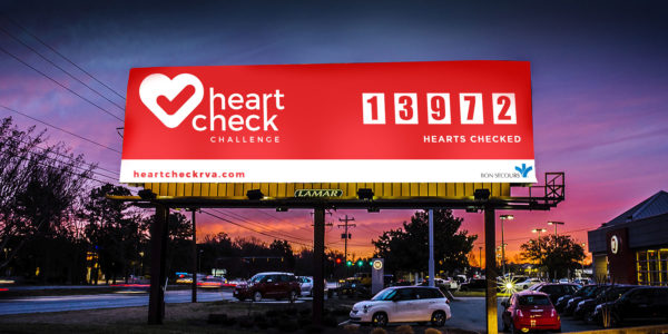 Billboard that shows how many hearts were checked