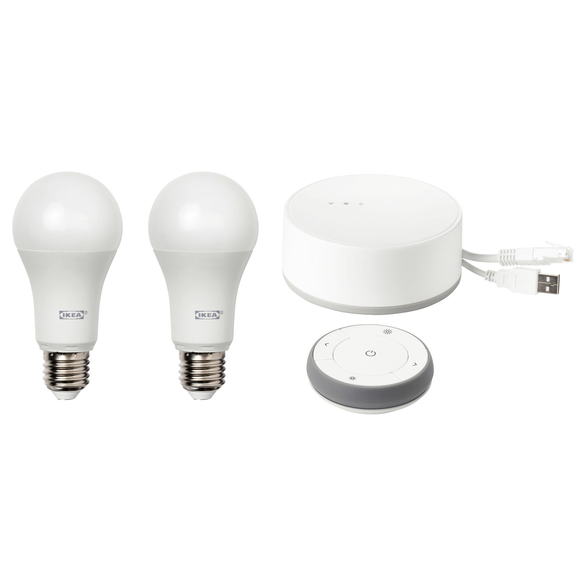 TRÅDFRI, Kit avec passerelle, télécommande et 2 ampoules