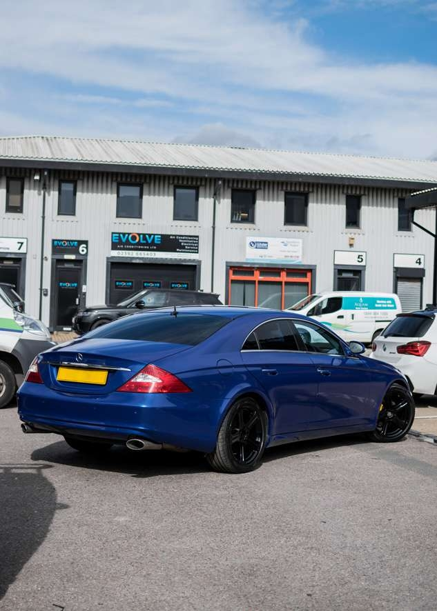 Mercedes CLS car vinyl wrapped in blue wrap from grey colour