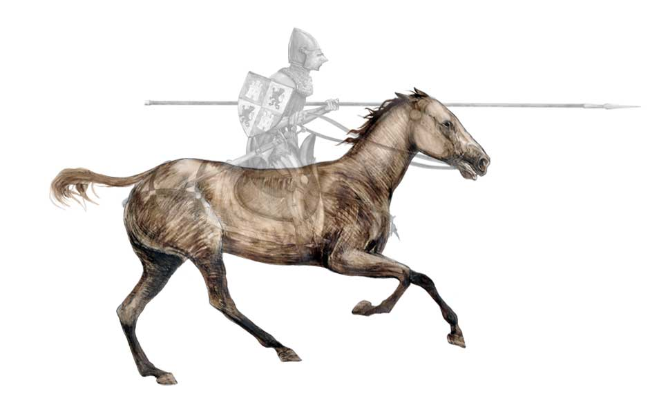 Praxinoscope illustration - Castilian knight and galloping horse - animation transparency layers