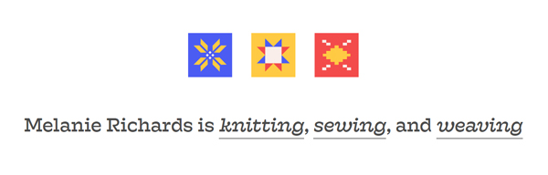 Site header that says Melanie Richards is knitting, sewing, and weaving
