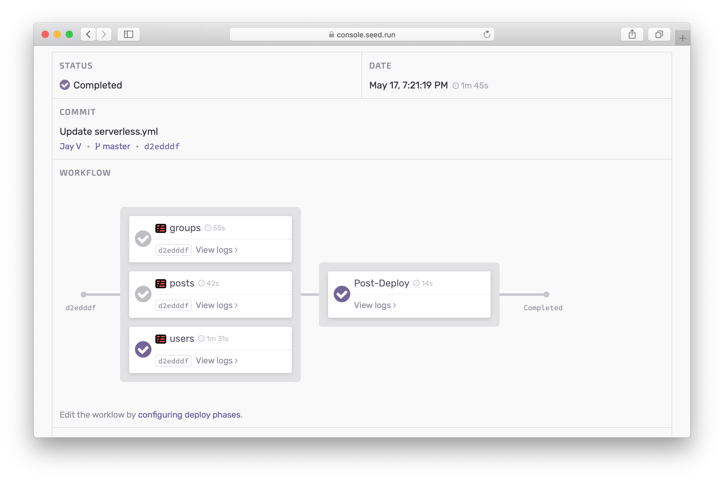 Build report panel with build times
