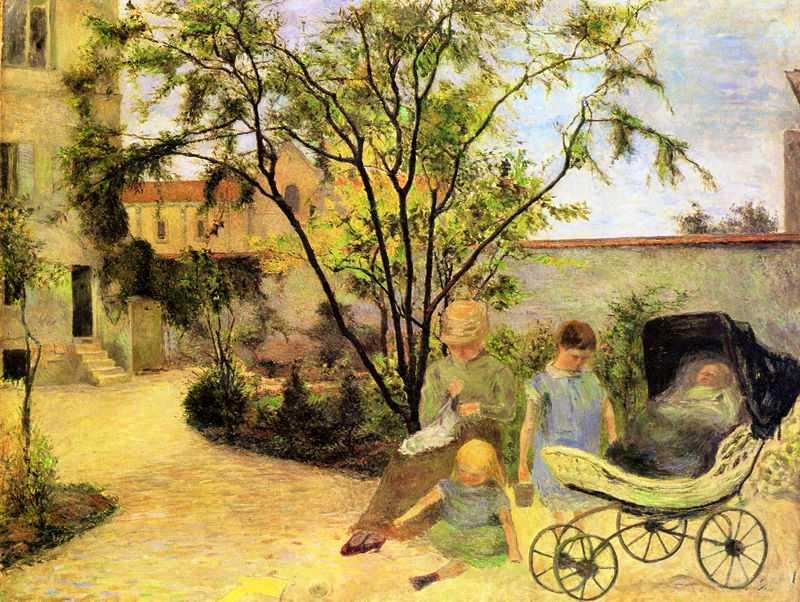 'Garden in Vaugirard (Painter's Family in the Garden in Rue Carcel)' by Gauguin in 1881, Ny Carlsberg Glyptotek, Copenhagen