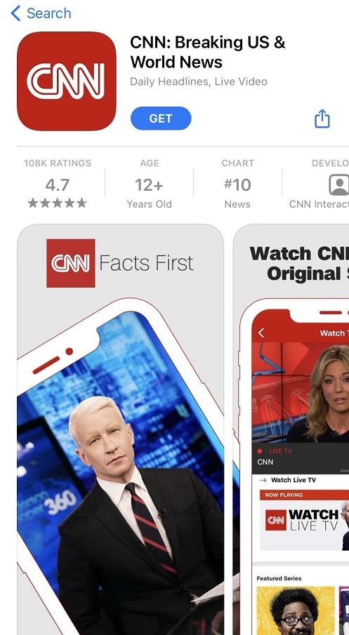 CNN App preview and screenshot.