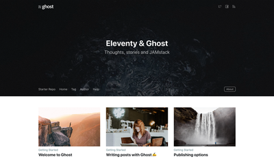 Screenshot of a page created with Eleventy Starter Ghost