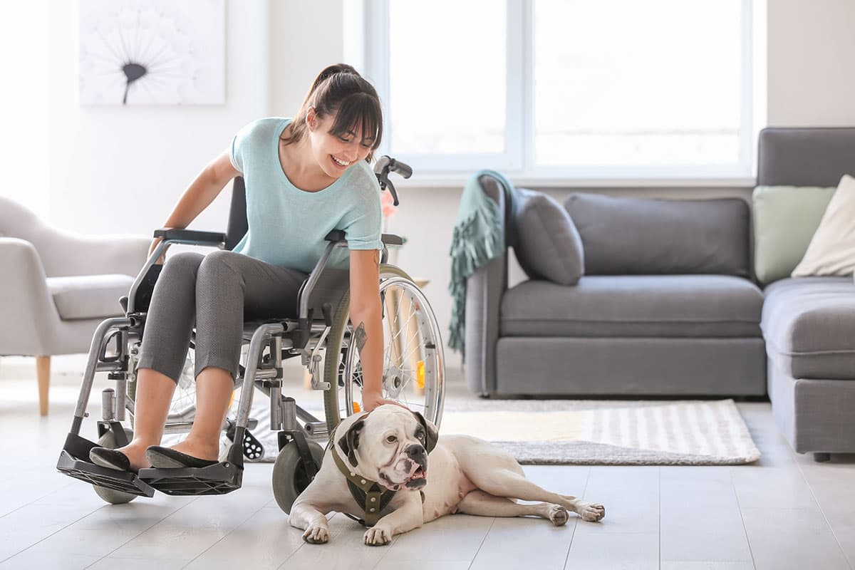 Woman in wheelchair petting a dog that is laying down on the floor