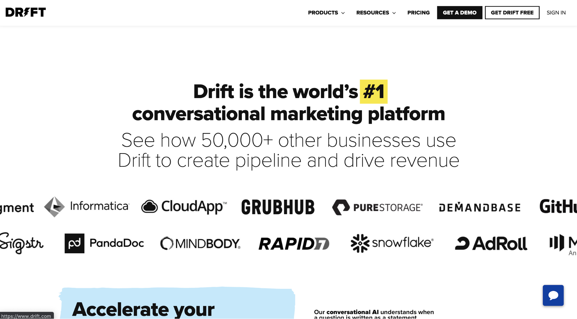 Message on the Drift homepage boasting about their position in their category.