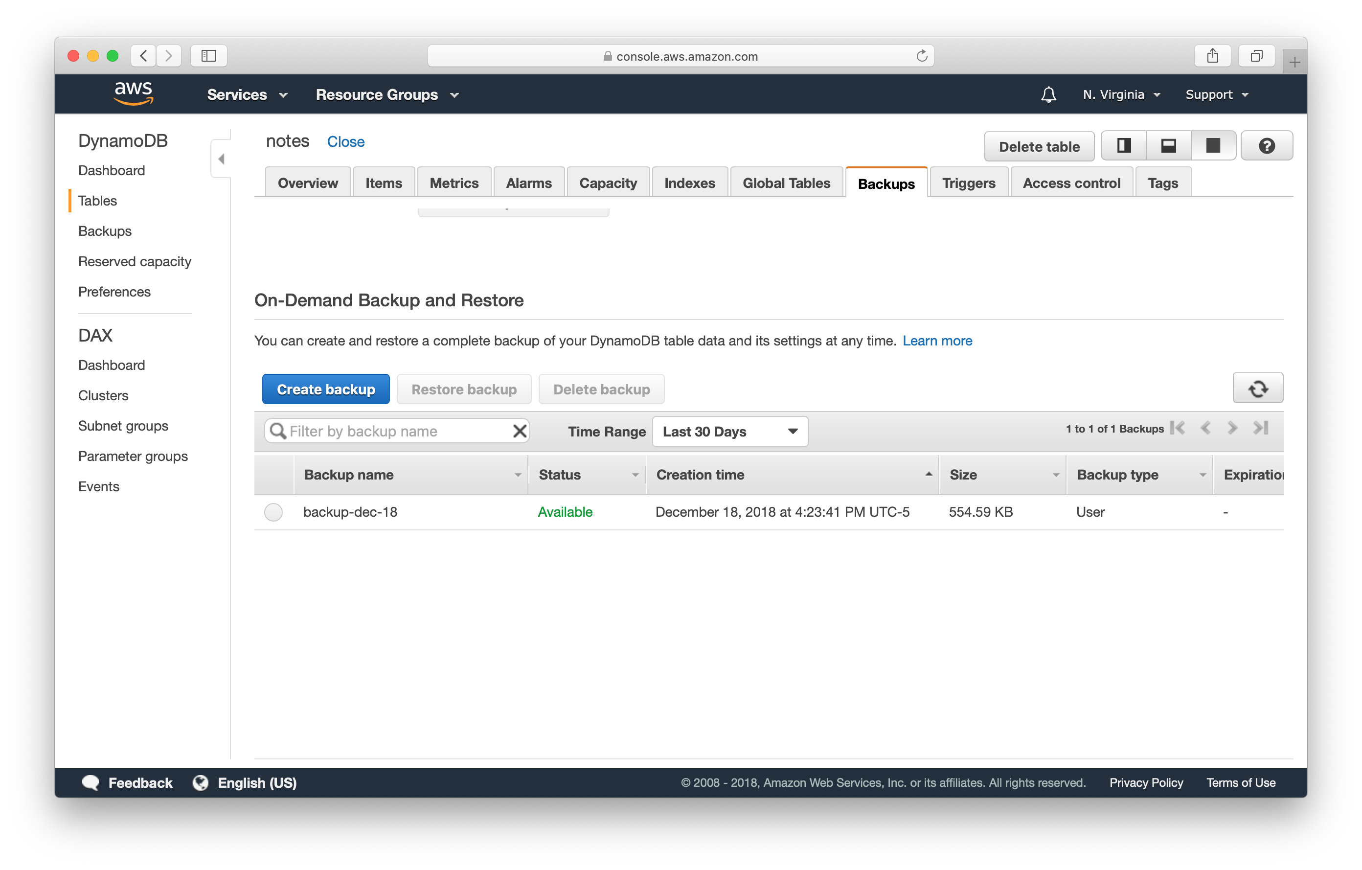 New DynamoDB table backup screenshot