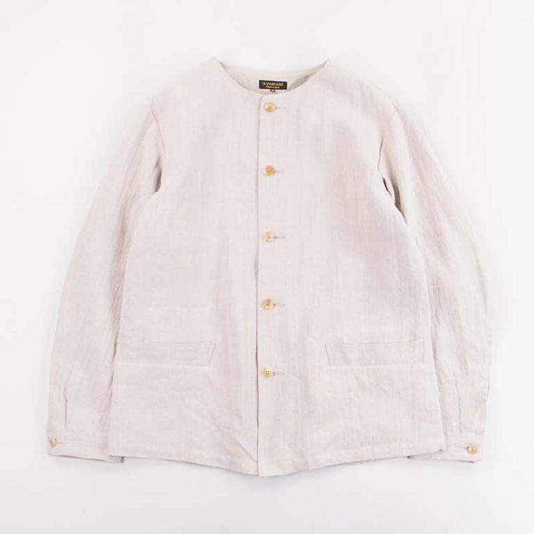 Linen collarless coverall jacket
