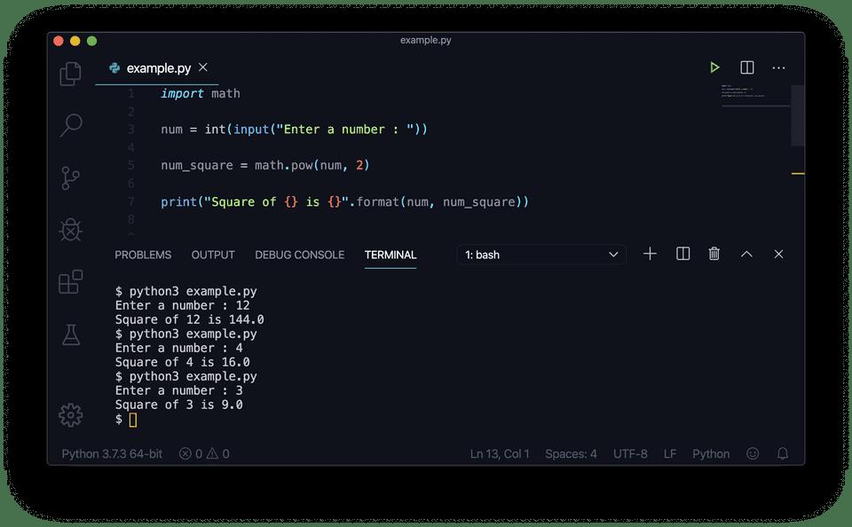 Python find square math pow