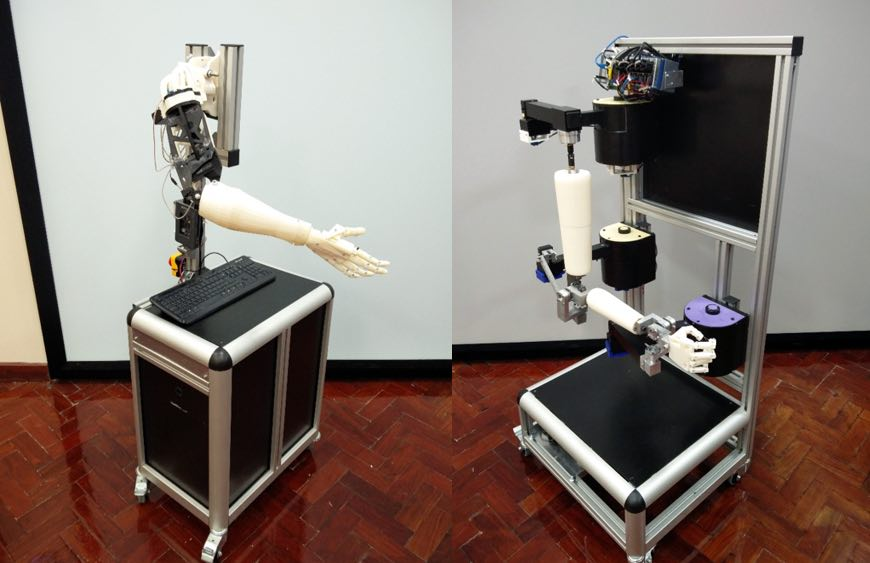 Two robotic arms we built for testing