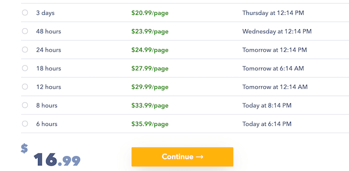 paperfellows.com pricing table