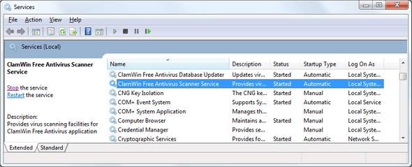 Screenshot of Windows Services