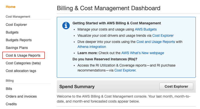 AWS Billing Step 1