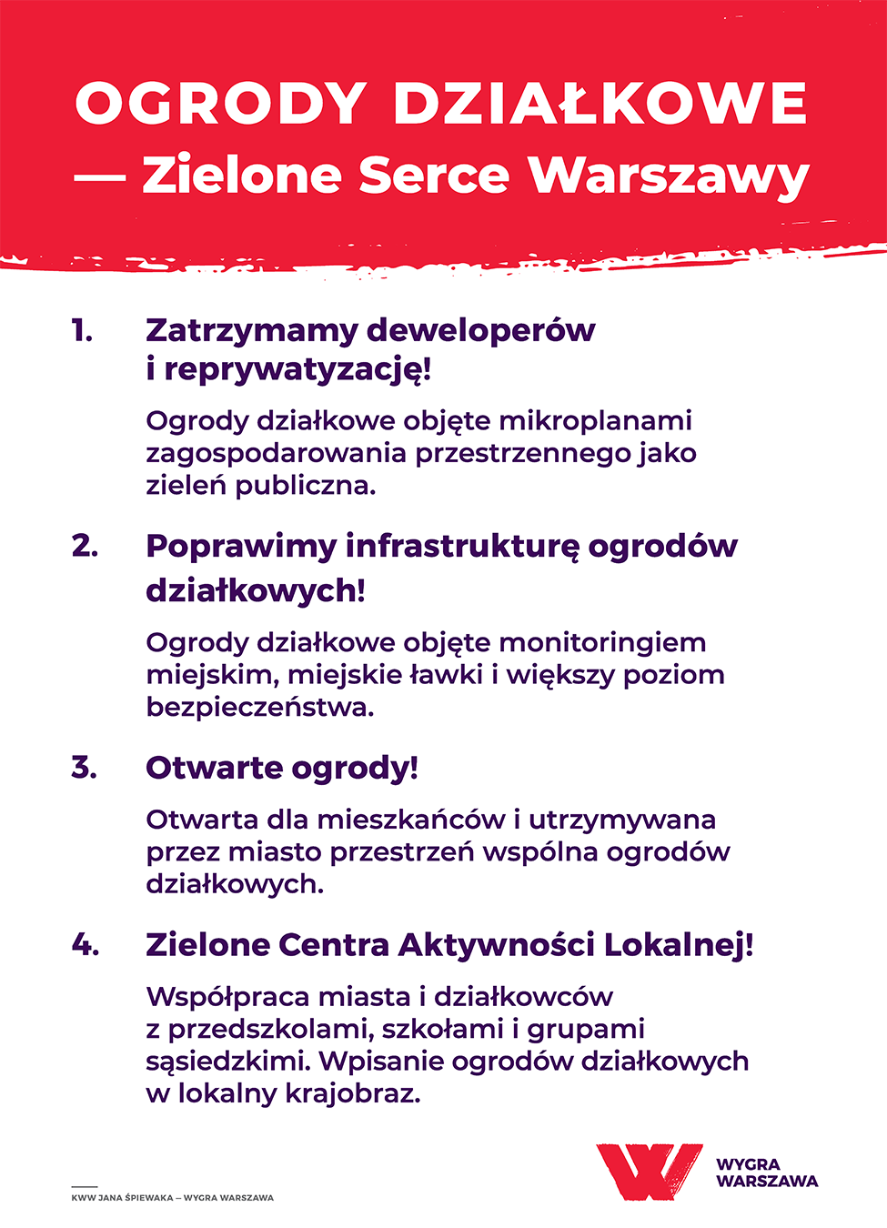 Ogrody działkowe - zielone serce Warszawy Zajmują dwa procent powierzchni miasta, dzielą się na 160 ogrodów i prawie 30 tysięcy osobnych ogródków. Najstarszy z nich – Rodzinny Ogród Działkowy przy Odyńca został założony w… 1902 roku. Komitet Wygra Warszawa przedstawił szereg sposób na ochronę terenów zielonych w mieście.