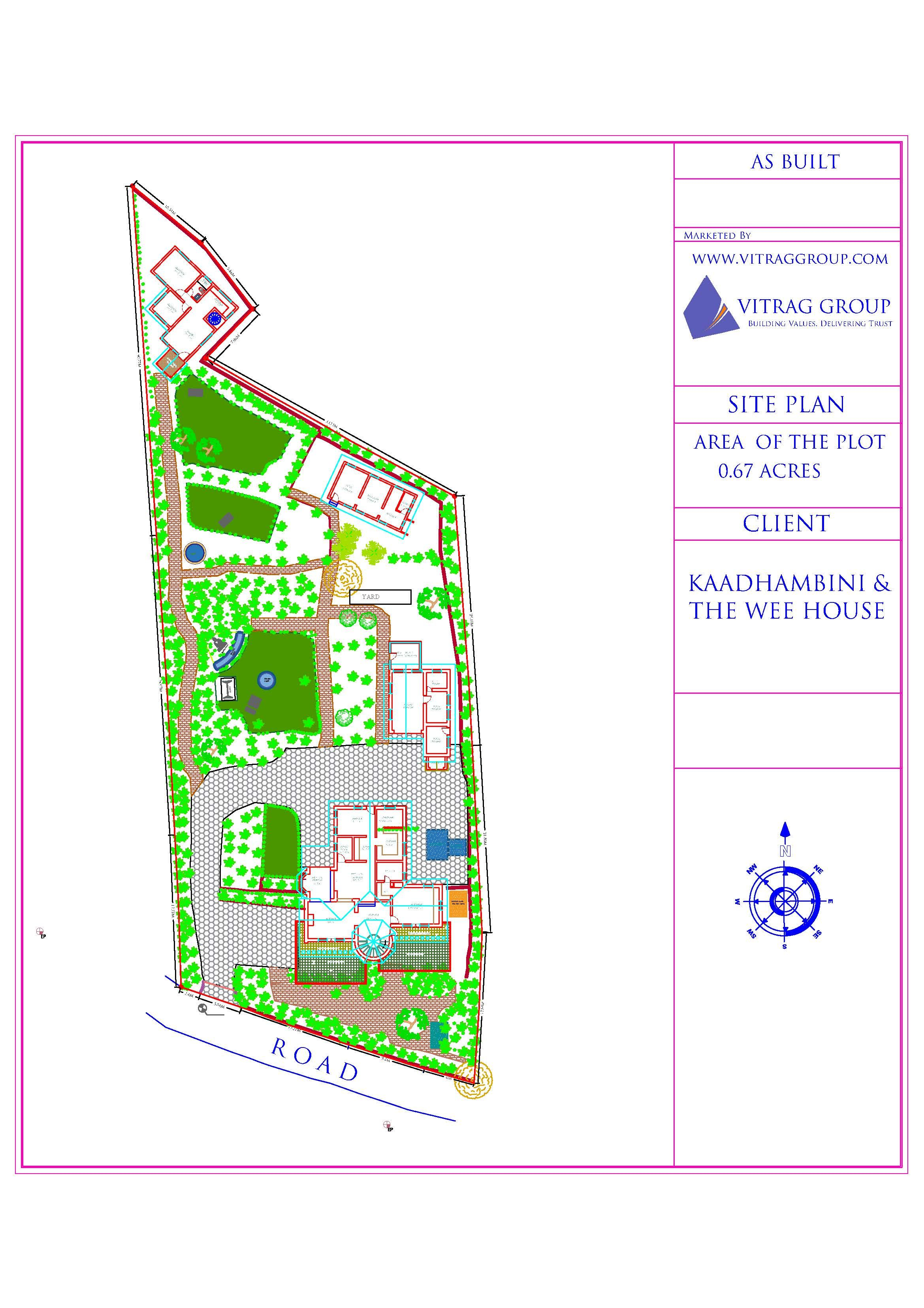 SITE PLAN WITH BUILDINGS AND TREES