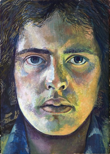self portrait painting of artist looking directly back in close up