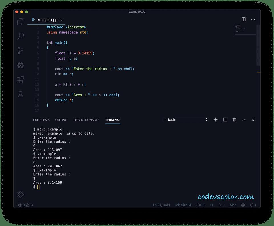 C++ circle area