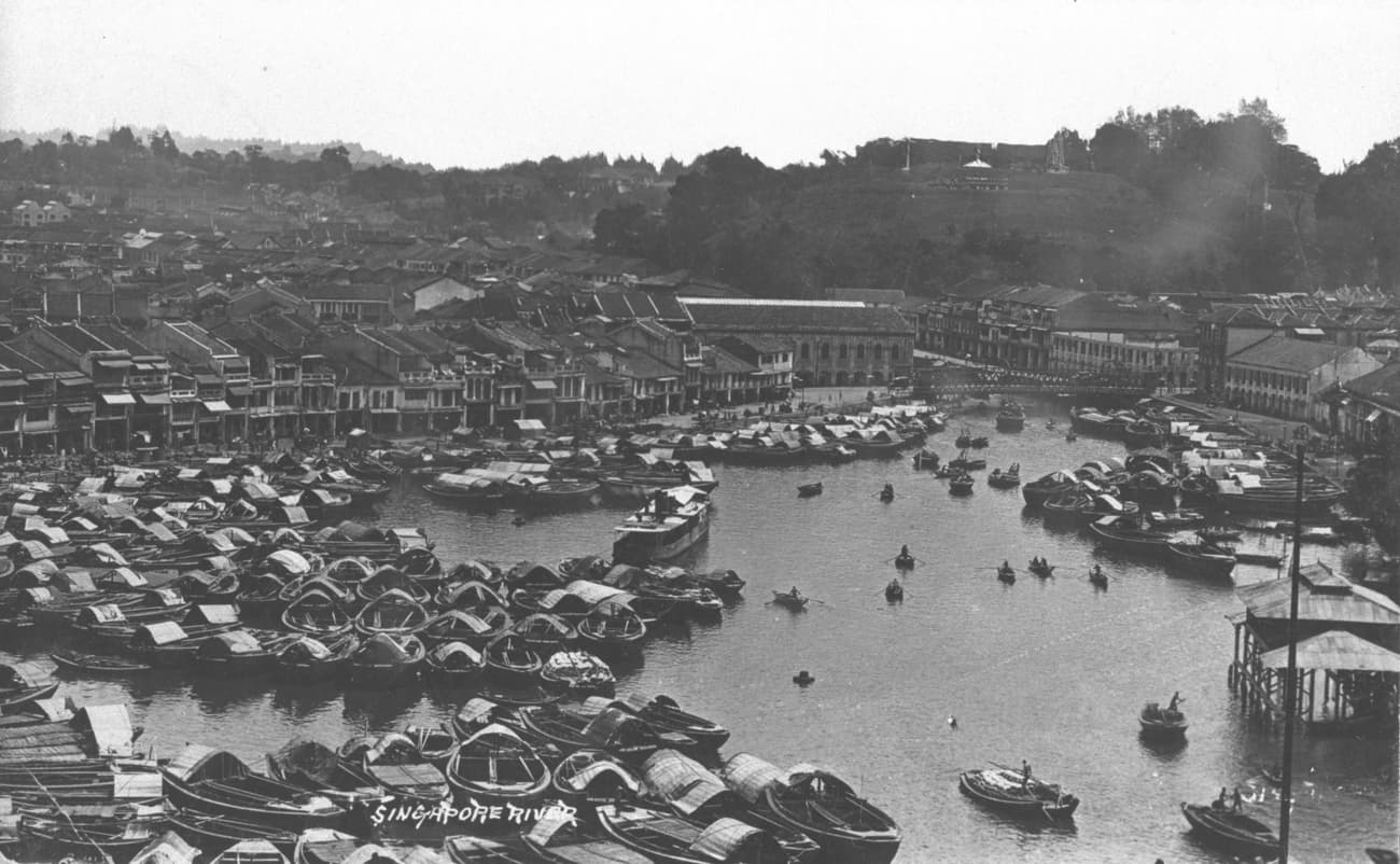 View of Boat Quay at Singapore River, 1910s