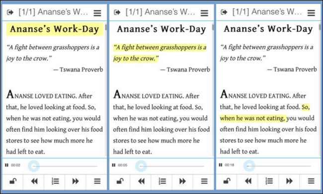 Screenshots of one of my stories, Ananse's Work Day, playing in the Menestrello app.