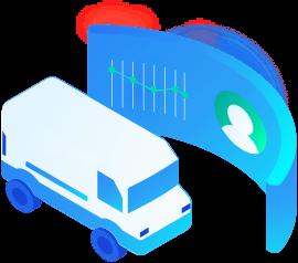 Ilustração de uma van com um gráfico no fundo