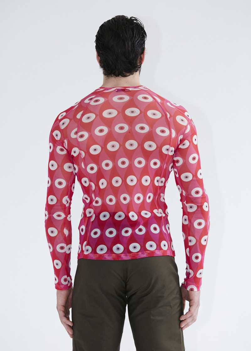 Gabriel longsleeved mesh top in pink for men and women. GmbH SS20 collection.