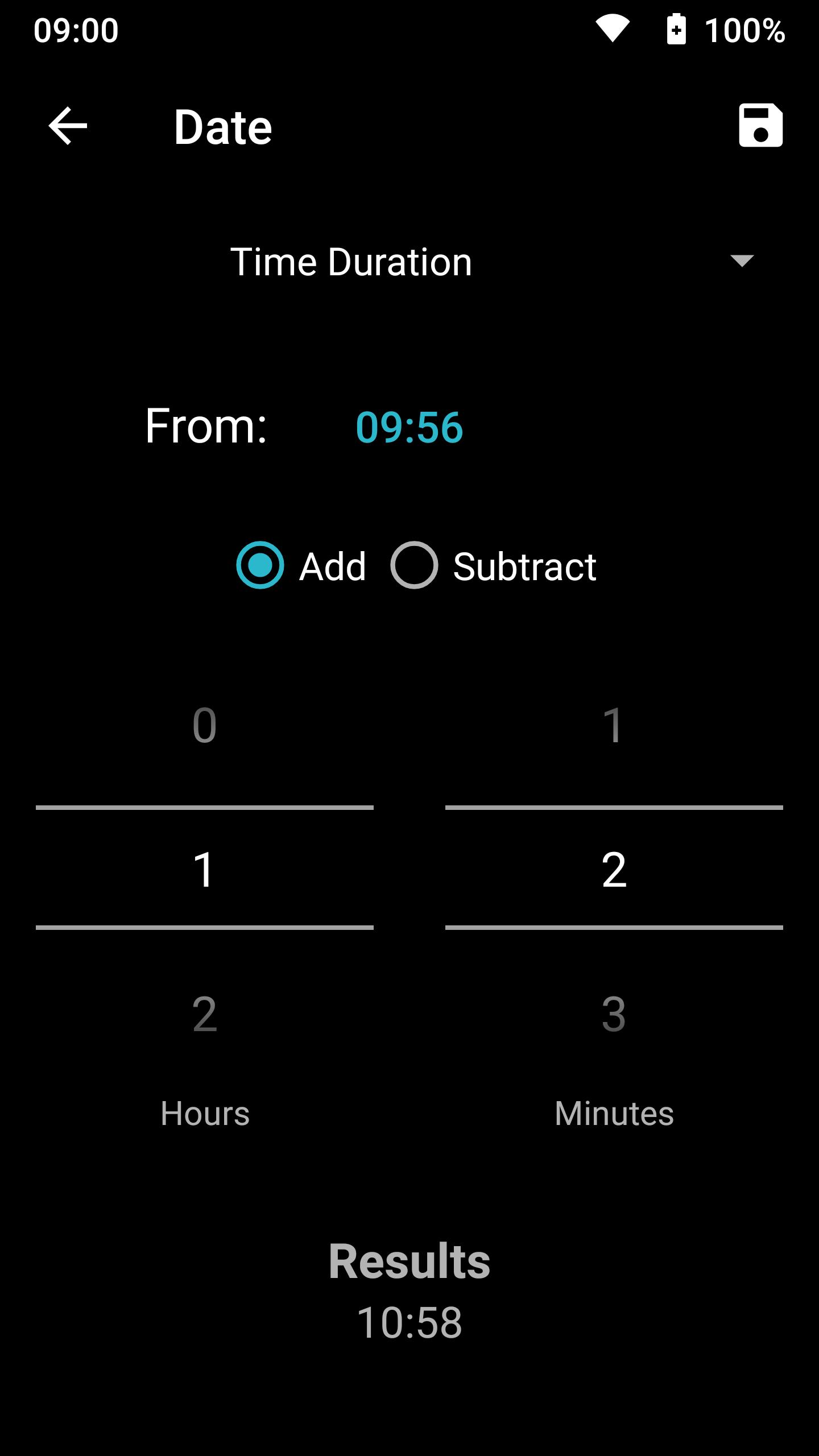 Screenshot of Time Unit Converter in unitMeasure: Offline Converter App